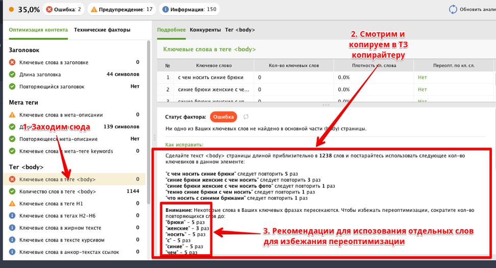 Рекомендации по наполнению страницы Website Auditor